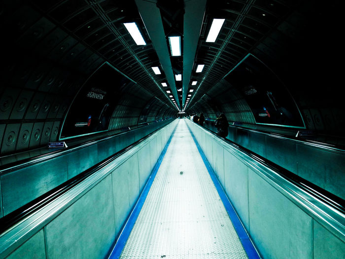 Architecture Diminishing Perspective Empty Escalator Illuminated London Modern No People Symmetry The Way Forward Tube Tunnel Uk Vanishing Point Walkway Water