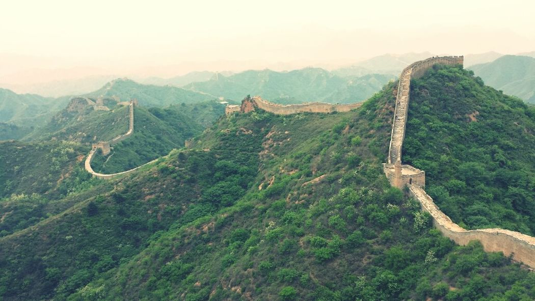 Jinshanling Great Wall Of China Hebei Hebei Province China Wall Mountains Cloudy Clouds History Historical Ancient Civilization ASIA Outdoors Chinese Afternoon Miles Away Lost In The Landscape