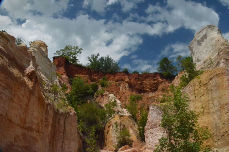 Providence Canyon State Park, Georgia, United States Ancient Ancient Civilization Cloud - Sky Day Eroded Geology History Low Angle View Mountain Nature No People Outdoors Plant Rock Rock - Object Rock Formation Sandstone Scenics - Nature Sky Solid The Past Tranquility Travel Travel Destinations