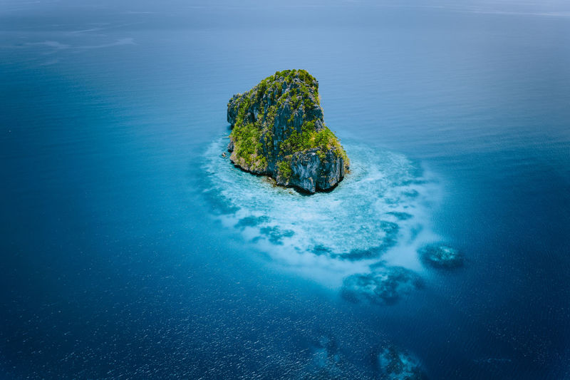View of rock in sea