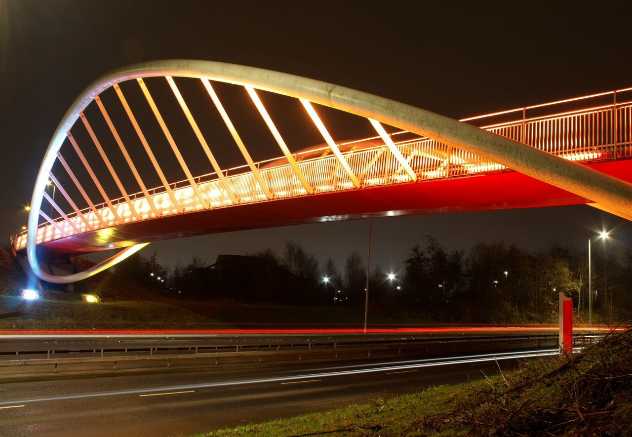 night, illuminated, transportation, light trail, long exposure, bridge - man made structure, speed, road, motion, connection, street light, no people, outdoors, high street, architecture, sky