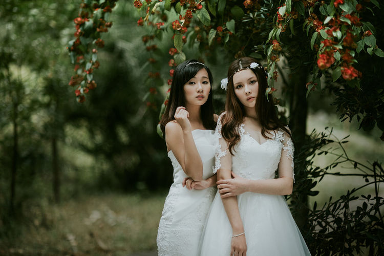 Adult Beauty Bride Celebration Day Fashion Happiness Nature Outdoors People Portrait Smiling Tree Two People Wedding Wedding Dress Young Adult