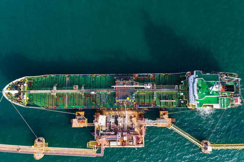 High angle view of ship oil and gas  moored at harbor