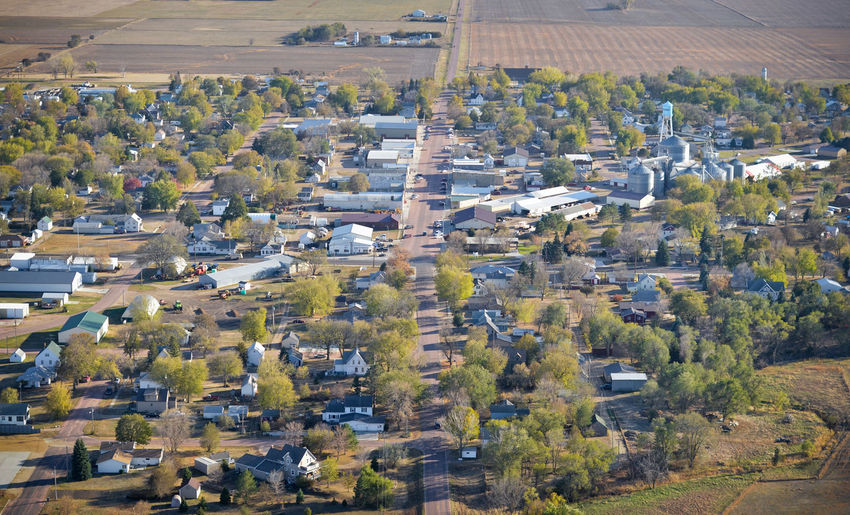 High Angle View Landscape Aerial View City Town Village Community Small Town Small Town America Aerial Aerial Photography Aerial Shot Plains Prairie MidWest South Dakota Trees Houses Main Street Farming Agriculture Building Building Exterior Rural Scene