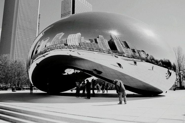 Chicago Architecture Chicago Illinois Reflections Architecture Monochrome Black And White Photography Chicago ♥ Cload Gate The Bean Reflection The Bean In Chicago Chicago's Skyline Architecture_bw Monochrome Photography
