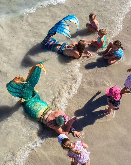Mermaids Beachside Activity Children Mermaids Touch And Feel Tails Kids Colorful Interactive  Costumes Scales Performers Coogee Beach Festival Western Australia Beach Indian Ocean Event Festival Entertainment Families April 3,2016 Coogee, WA Fun Sand Waves Water