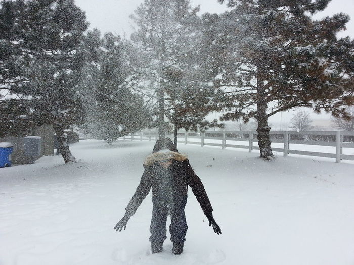Rear view of person standing on snow covered field against trees