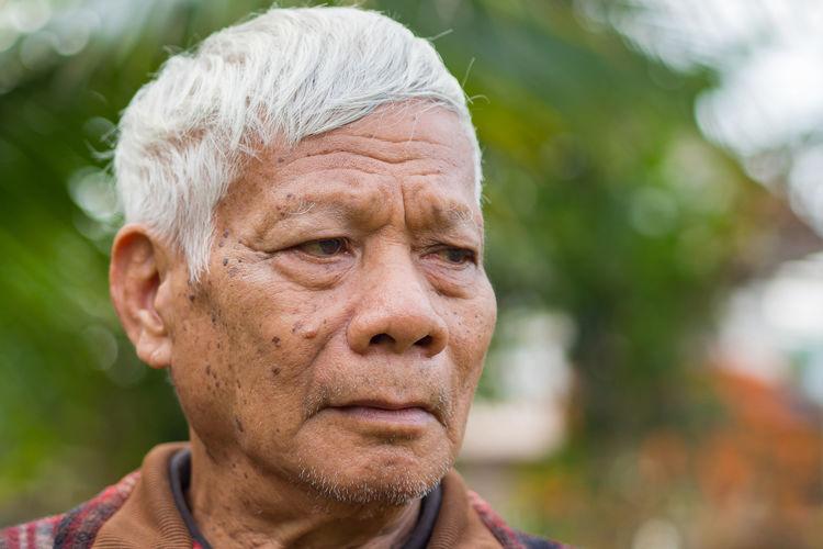 Portrait of elderly man standing and looking in his garden.