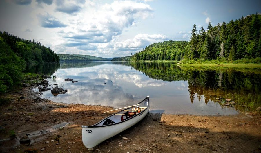 Canoe Quebec Adventure Beauty In Nature Canoe Paddling Cloud - Sky Day Forest Lake Mountain Nature Nautical Vessel No People Outdoors Reflection Scenics Sky Tranquil Scene Tranquility Transportation Tree Wapizagonke Lake Water