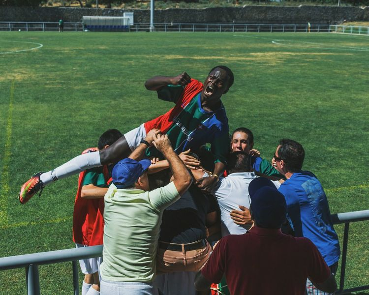 People Match - Sport Stadium Soccer Outdoors Teamwork Young Adult Sports Team Day WINNING!! Final Goal Happiness Group Of People Soccer Player Soccer Team  Happinessoverload Moments Of Life MomentsToRemember Catching The Emotions In A Shot Feelings Determination Enthusiasm Enthusiastic People