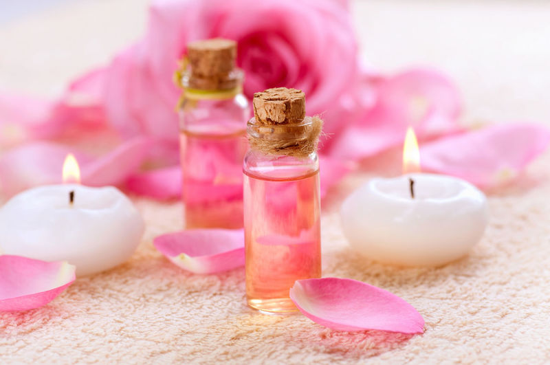 Alternative Therapy Aromatherapy Aromatherapy Oil Beauty Spa Beauty Treatment Body Care Candle Close-up Flame Flower Group Of Objects Health Spa Nature No People Pampering Petal Pink Color Purple Relaxation Scented Selective Focus Spa Treatment Still Life Wellbeing Zen-like