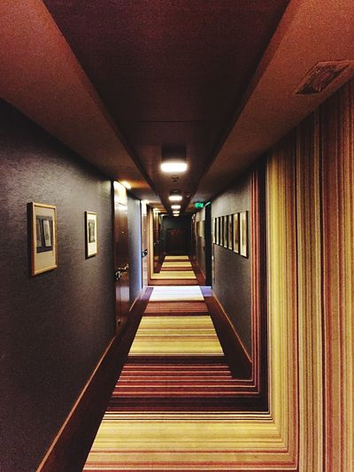 Indoors  The Way Forward Illuminated Corridor No People Architecture Built Structure Day 70s 70s Style Innsbruck Hotel