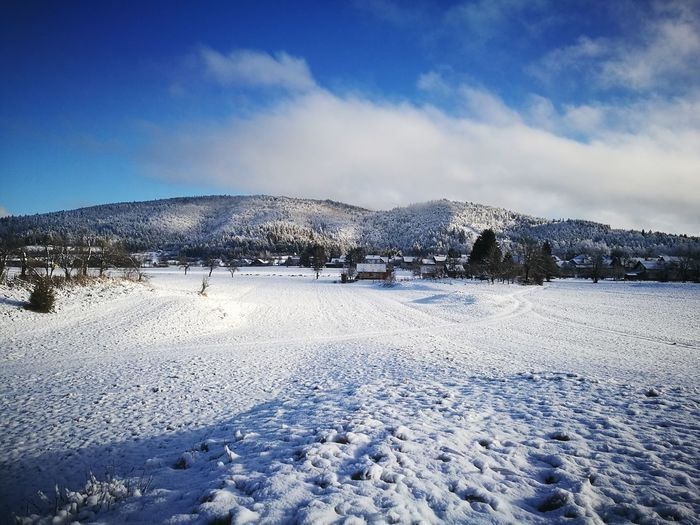 Cold Temperature Snow Winter Blue Nature Outdoors Landscape Beauty In Nature Mountain Sky Cloud - Sky No People Day Scenics Snowing