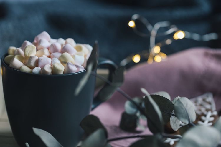 Close-up of marshmallows in mug by plant on table