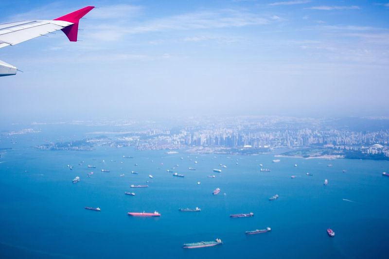 From An Airplane Window Singapore Sea Lanscape
