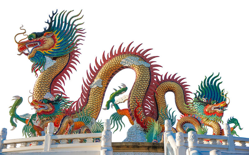 Isolated Animal Representation Architecture Art And Craft Chinese Chinese Dragon Clear Sky Day Dragon Multi Colored No People Outdoors Place Of Worship Sculpture Spirituality Statue White