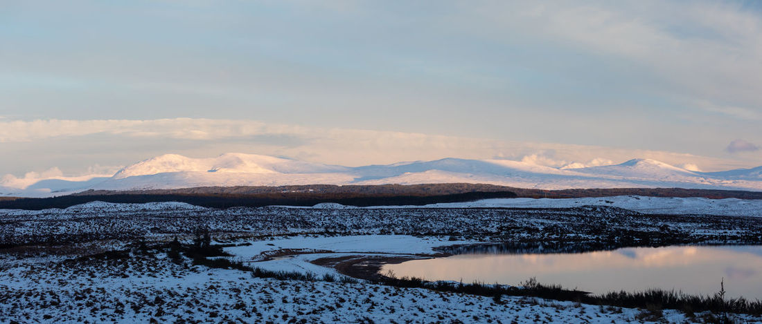 Nature Panorama Reflection Scotland Tadaa Community Landscape No People Rannoch Moor Scottish Highlands Snowcapped Mountain Sunset