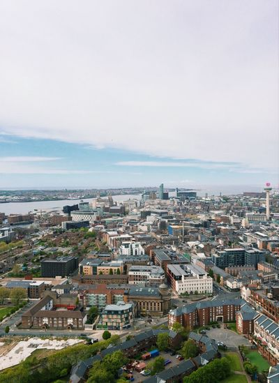 View from the top of Liverpool Cathedral Skyline Cathedral Building Exterior Architecture Built Structure City Cityscape High Angle View Sea Sky Building Adventures In The City