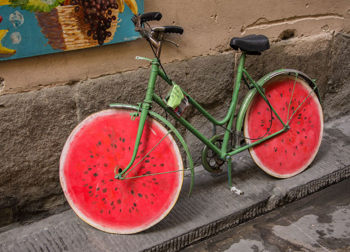 Bicycle parked on one of the Florence street Bicycle Close-up Freshness Fruitart Healthy Eating No People Streetphotography Vegetables Watermelon