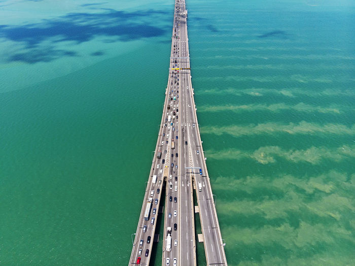 High angle view of bridge over sea