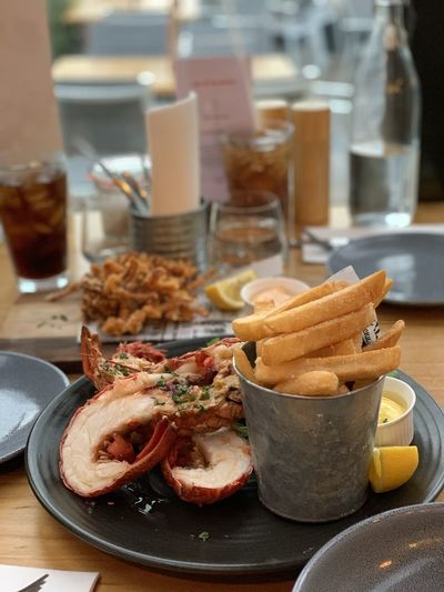 Food served on table at restaurant