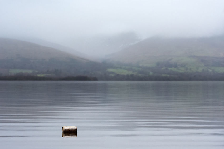 A can thrown into Loch Lomond making the increasing litter issue worse Fog Lake Animal Wildlife No People Water Nature Tranquility Outdoors Tree Landscape Scenics Beauty In Nature Day Sky Trossachs National Park Litter Reflection Social Issues Garbage Loch Lomond Nature Freshwater Morning Rural Scotland