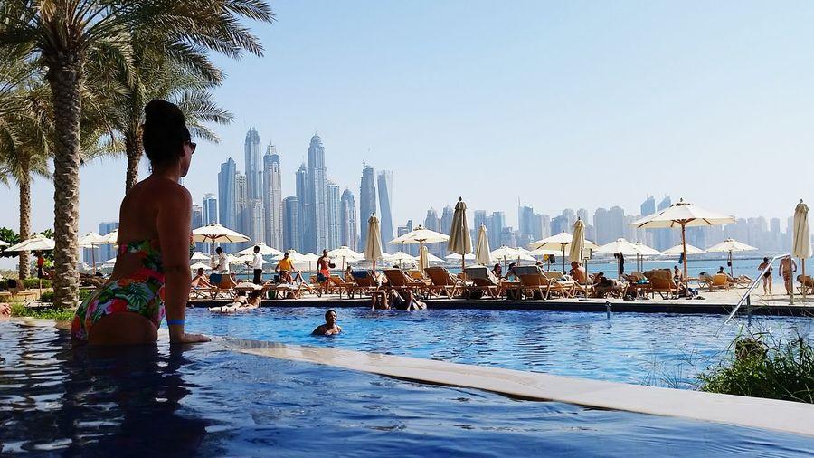 Palm Tree Cityscape Skyscraper Dubai Development UAE Water UAE , Dubai Hotel Swimming Pool Luxury 5starhotel