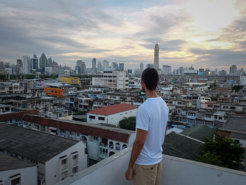 Bangkok Building Exterior Cityscape Rooftop View  Skyline Sunset Travel Urban Skyline People And Places From The Back Pensive Outlook View Residential District