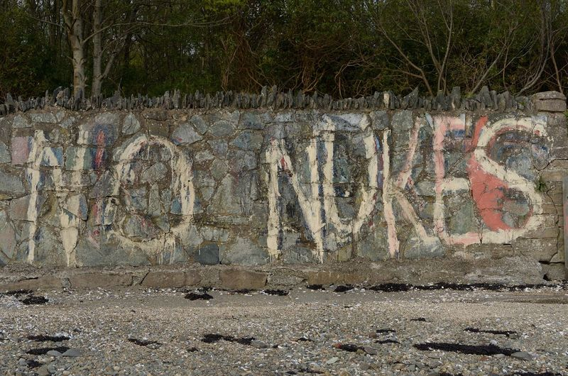 No Nukes at the Faslane Peace Camp Day No People Graffiti Architecture Text Creativity Wall - Building Feature Wall Art And Craft Plant Nature Communication History Craft Outdoors Western Script The Past Solid Carving - Craft Product Built Structure No Nukes Peace Camp