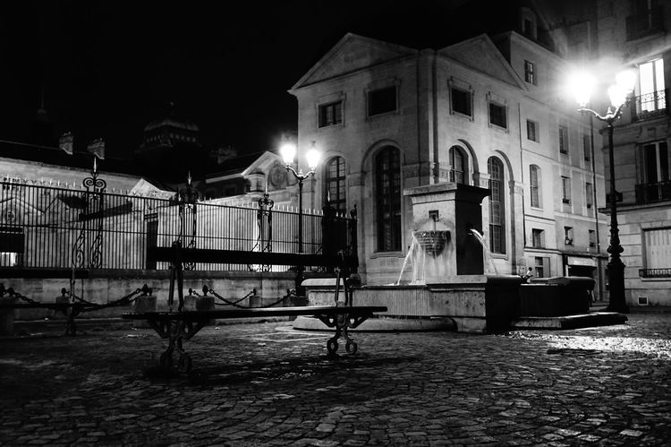 Night Architecture No People Blackandwhite Paris ParisByNight Val De Grace Place Banc Banch Fontain Fontaine The Week On EyeEm