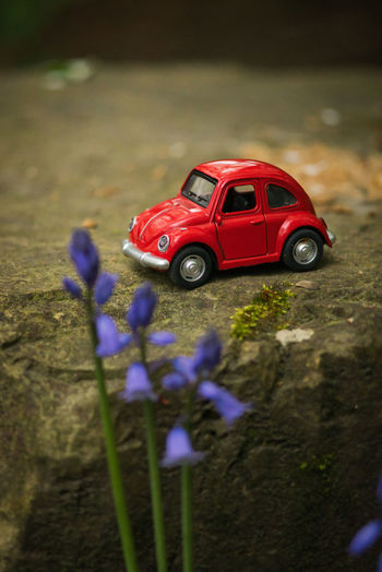 Close-up of red toy car on field