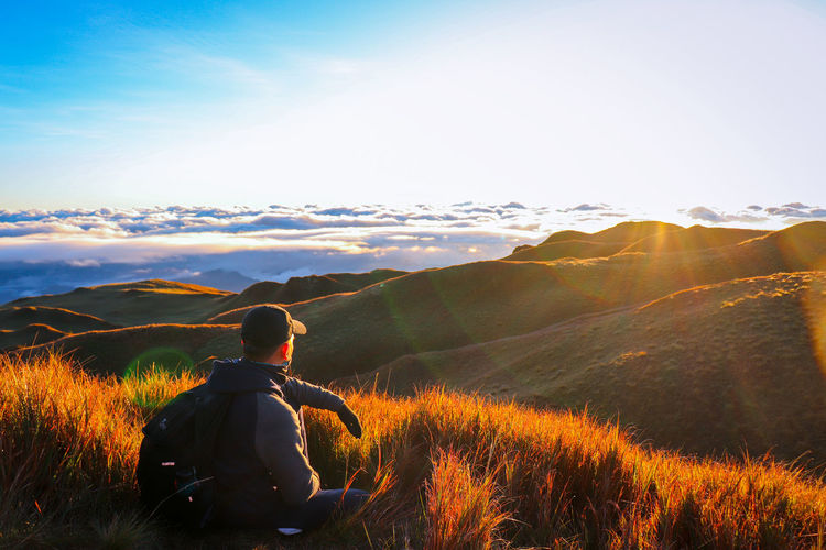 Relaxing sunrise view on the mountain peak.
