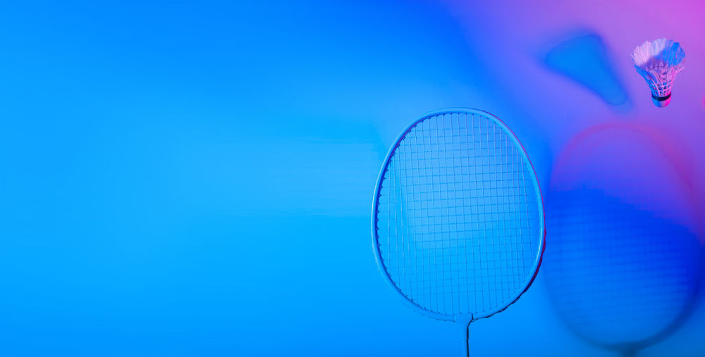 Low angle view of ball against blue background