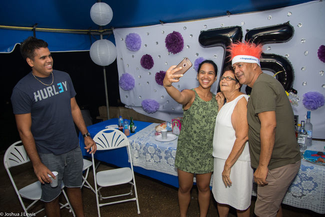 Grandmother Family Time Laughing Fun Beautiful Smiling Motherandson  Beautiful People Trinidad And Tobago Stillife Caribbean Motherandchildren Birthdayparty Togetherness People 75th Family Portrait Selfies