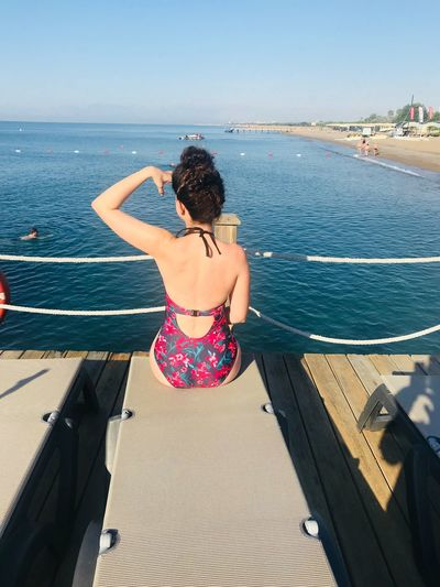 I see you Seascape Summer Back Looking Away Water Sea Lifestyles One Person Leisure Activity Real People Sunlight Nature Young Women Horizon Over Water Young Adult