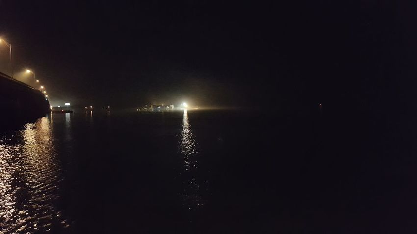 fogs coming into the bay tonight Bridges Fresh On Eyeem  Water Night Illuminated No People Reflection Sea Beach Tranquility Outdoors