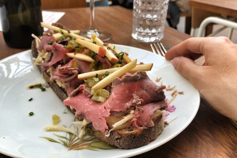 Bread With Roast Beef Meaty Breakfast Carnivore Roast Beef Czech Cuisine Food And Drink Food Human Hand Freshness Hand Plate Table