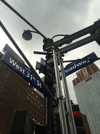 NYC Street Corner Street Signs Broadway 31th Street Skyscrapers