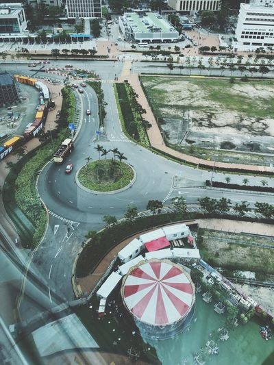 Neverstopexploring  Roundandround Intheair Merrygoround Airview Hong Kong Highway High Angle View Aerial View Day Transportation No People Full Frame Water