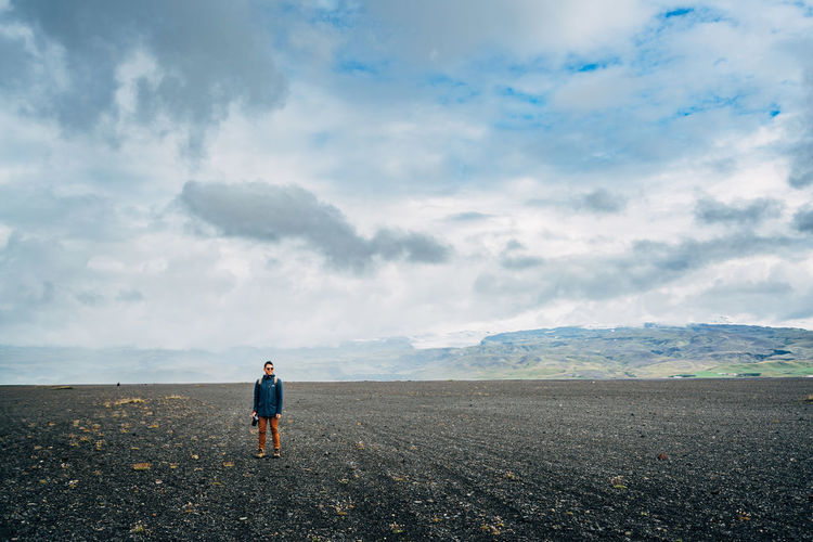 Adult Adults Only Beach Cloud - Sky Day Full Length Iceland Men Nature One Man Only One Person Only Men Outdoors People Sand Sea Sky Sólheimasandur Travlr Young Adult Lost In The Landscape
