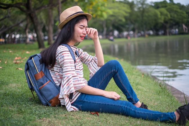 Asian  Cry Holiday Sadly Stress Thailand Tourist Travel Unhappy Woman Adventure Attractions Backpacker Exhausted Female Journey Sadness Strain Tension Tourism Traveler Vacation Weep Woeful Young Adult