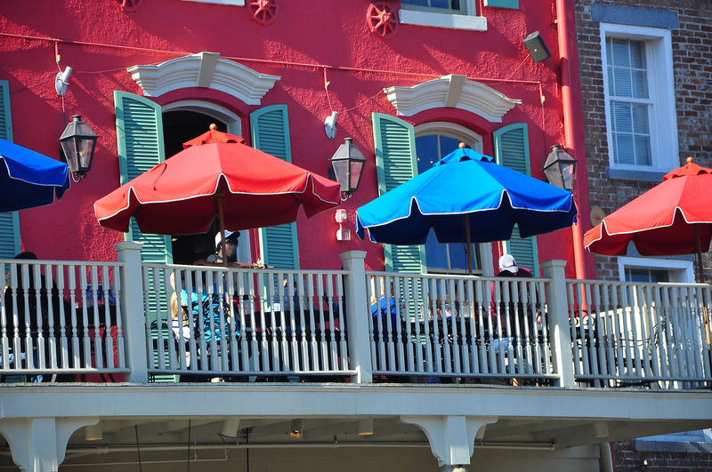 French Quater New Orleans EyeEm Architecture Blue Building Exterior City Day Multi Colored No People Outdoors Red Umbrellas On Balcony