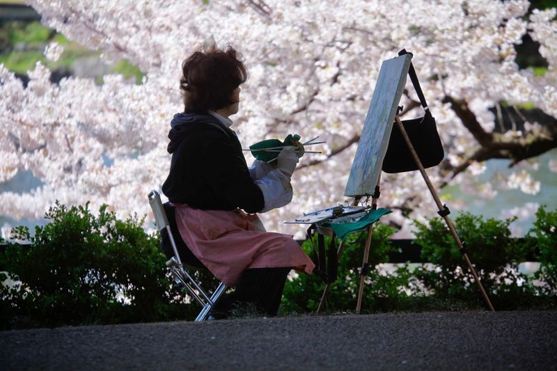 Side View Of Woman Painting While Sitting Against Flowering Tree