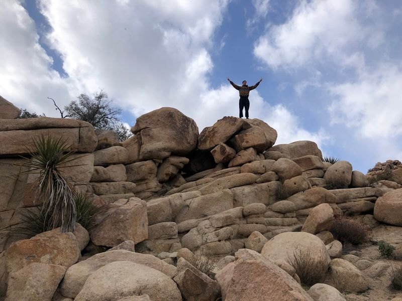 Joshua tree Man on rock Hidden Valley Joshua Tree California National Park Sky Cloud - Sky Low Angle View Rock Solid Rock - Object Real People Nature Human Arm Lifestyles Leisure Activity Day Arms Outstretched Men One Person Outdoors Land