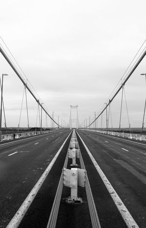 Architecture Black & White Black And White Black And White Photography Blackandwhite Blackandwhite Photography Bridge - Man Made Structure Built Structure Centre Connection Day England Middle No People Outdoors Road Severn Severn Bridge Sky Suspension Bridge Symmetrical Symmetry The Way Forward Transportation Wales