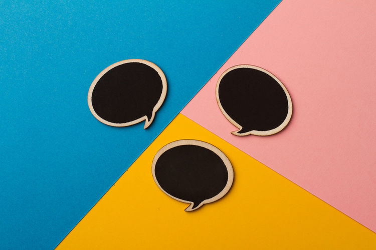 everyone's got something to say Abstract Blue Conceptual Conversation Diversity Geometry Minimal Multicolored Photography Pink Say Speech Bubbles, Talking Pictures Wood Yellow