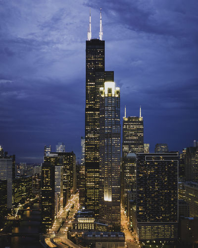 Chicago Sunset Glow Building Exterior Built Structure Architecture Building City Sky Office Building Exterior Skyscraper Tall - High Modern Cloud - Sky Cityscape Tower Office Illuminated Nature No People Urban Skyline Travel Destinations Landscape Outdoors Financial District  Spire  Chicago Sears
