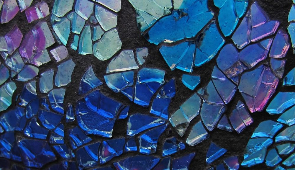 Blue Color Mosaic Backgrounds Close-up Colorful Day Full Frame Glass Mosaic Art Multi Colored Purple Color Glass - Material Stained Glass Glass Mosaic