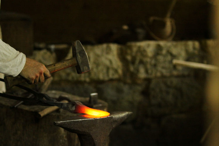 Anvil Blacksmith  Burning Campus Galli Craftsperson Expertise Factory Flame Forge  Hammer Heat - Temperature Human Body Part Human Hand Industry Making Manual Worker Manufacturing Metal Industry Occupation Preparation  Skill  Smith Work Tool Working Workshop