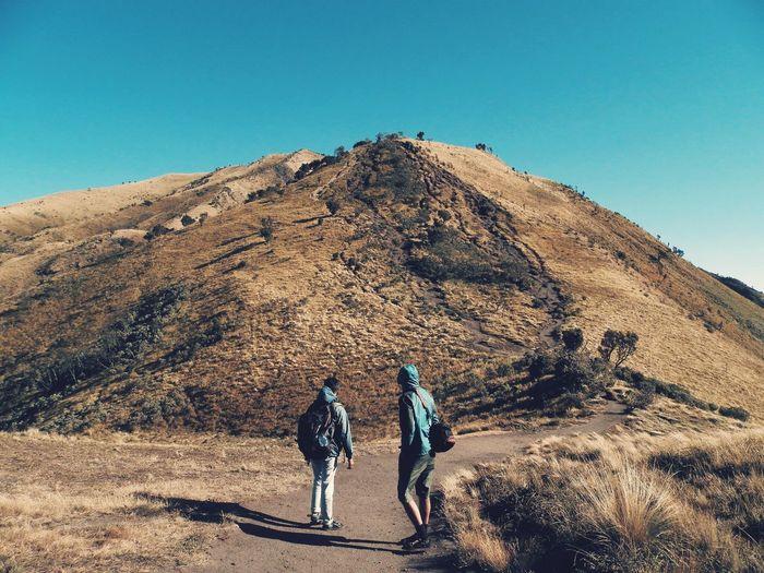 Never give up Go Higher Sand Dune Mountain Desert Full Length Clear Sky Sand Adventure Hiking Arid Climate Men